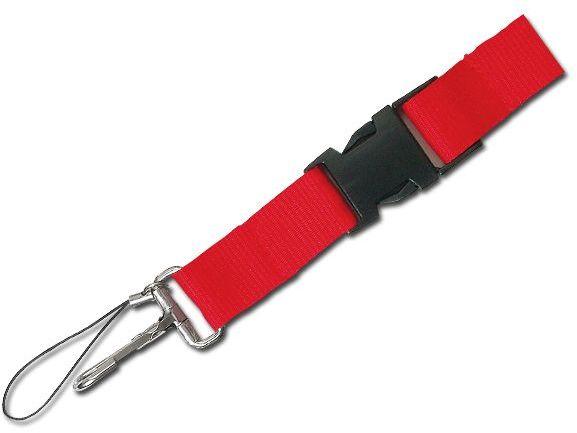 IDA textilní šňůrka na krk s karabinou, červená