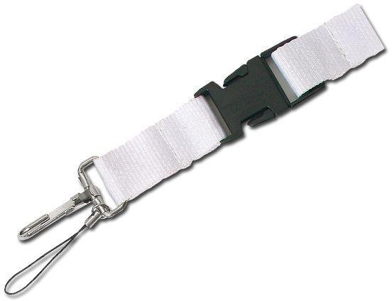 IDA textilní šňůrka na krk s karabinou, bílá