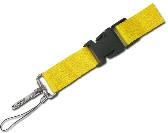 IDA textilní šňůrka na krk s karabinou, žlutá s potiskem