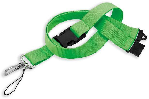 IDA textilní šňůrka na krk s karabinou, reflexní zelená