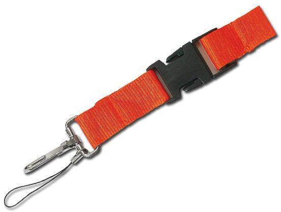 IDA textilní šňůrka na krk s karabinou, oranžová