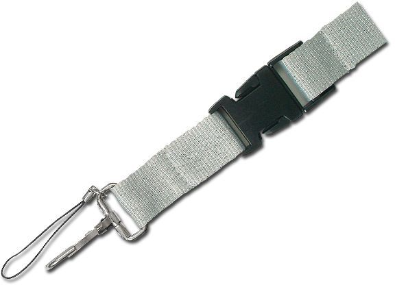 IDA textilní šňůrka na krk s karabinou, stříbrná