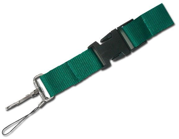 IDA textilní šňůrka na krk s karabinou, zelená