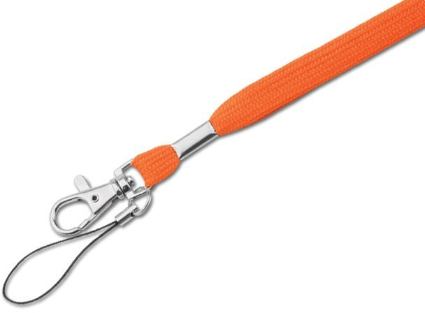 SALMA textilní šňůrka na krk s karabinou, oranžová