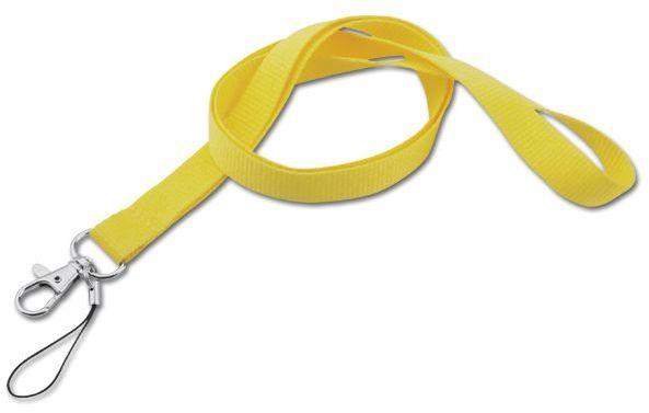 MACY textilní šňůrka na krk s karabinou, žlutá
