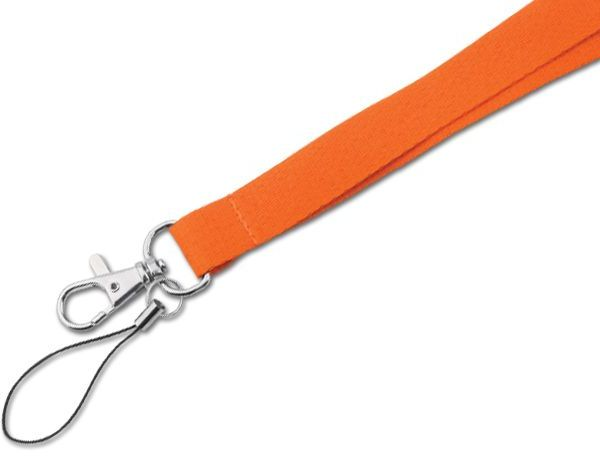 MACY textilní šňůrka na krk s karabinou, oranžová s potiskem
