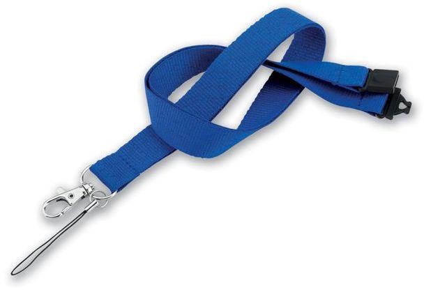 VALMONT textilní šňůrka na krk s karabinou, modrá s potiskem