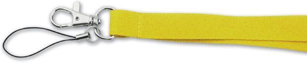 VALMONT textilní šňůrka na krk s karabinou, žlutá