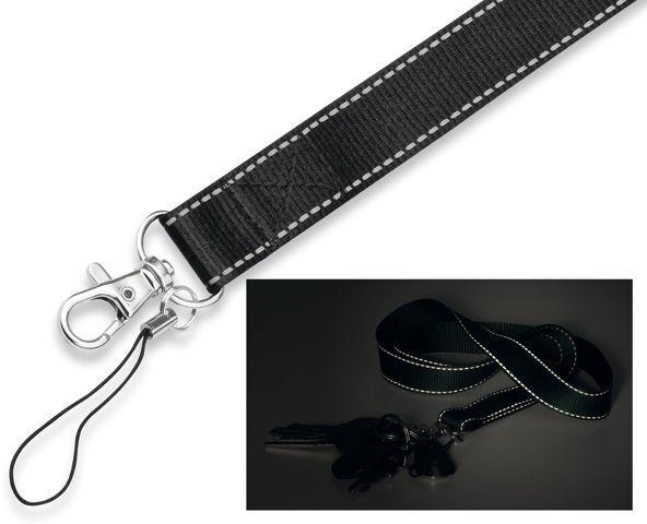 REFLEXO textilní šňůrka na krk s karabinou, černá s potiskem