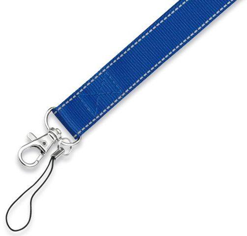 REFLEXO textilní šňůrka na krk s karabinou, modrá