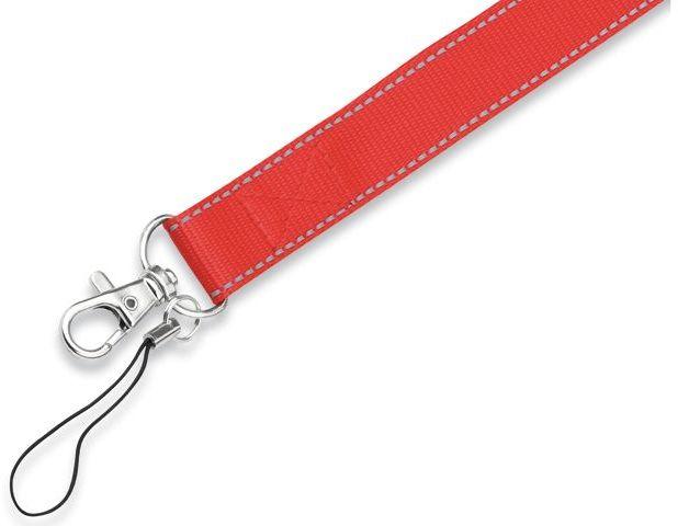 REFLEXO textilní šňůrka na krk s karabinou, červená s potiskem