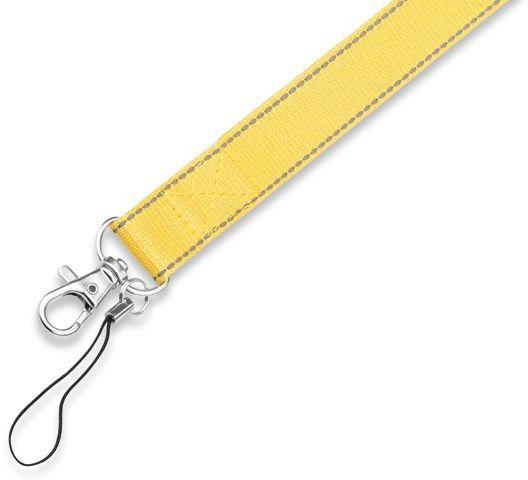 REFLEXO textilní šňůrka na krk s karabinou, žlutá s potiskem