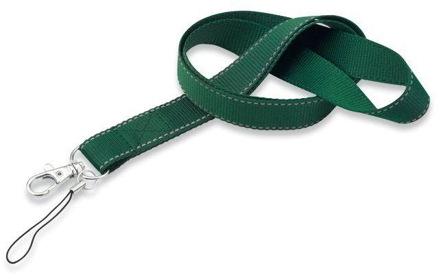 REFLEXO textilní šňůrka na krk s karabinou, zelená