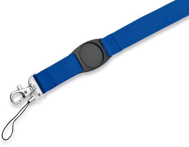 DOMINGO textilní šňůrka na krk s karabinou, modrá s potiskem