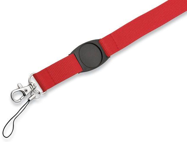 DOMINGO textilní šňůrka na krk s karabinou, červená
