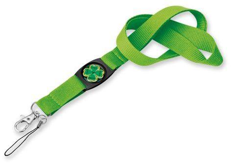 DOMINGO textilní šňůrka na krk s karabinou, světle zelená