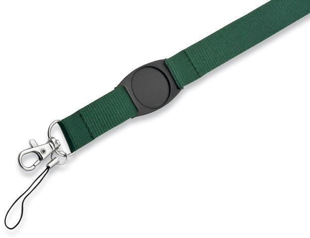 DOMINGO textilní šňůrka na krk s karabinou, zelená