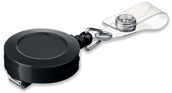 SWINNY plastový samonavíjecí držák s kovovým klipem, černá