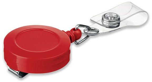 SWINNY plastový samonavíjecí držák s kovovým klipem, červená