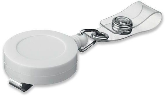 SWINNY plastový samonavíjecí držák s kovovým klipem, bílá