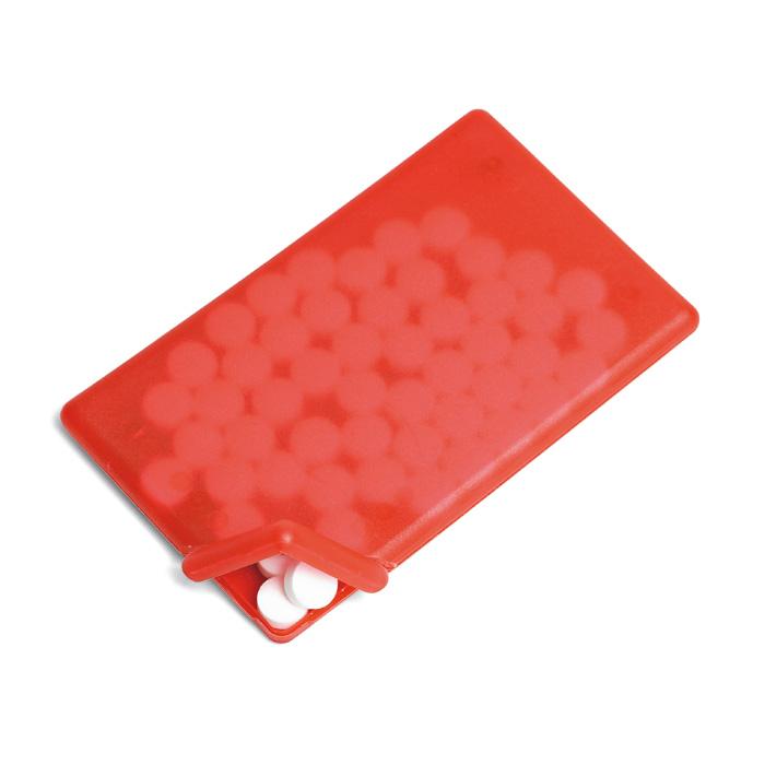 Červený dávkovač mentolek