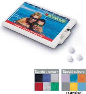 Plastikový box s mintovými bonbony transparentní s potiskem