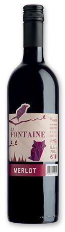 MERLOT LA FONTAINE francouzské červené víno, 750 ml s potiskem