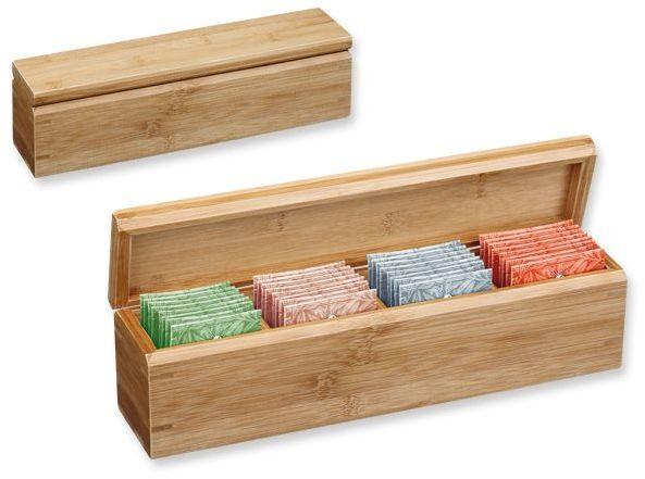 VARIACE sada čajů Sonnentor 4x8 ks v bambusové krabici s potiskem