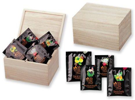 CADDY sada čajů Biogena 4x8 ks v dřevěné krabici, přírodní s potiskem