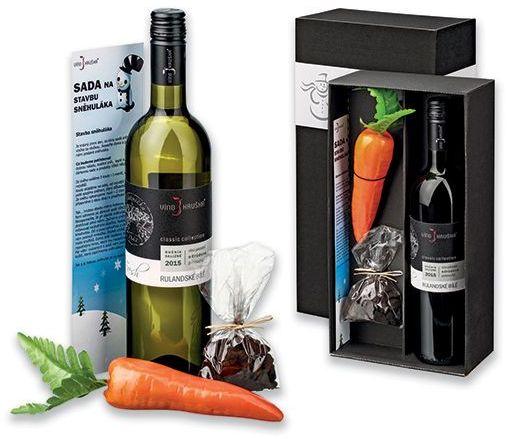 WINE SNOWMAN sada sněhulák - víno, mrkev, uhlíky a návod na sněhuláka, HRUŠKA s potiskem