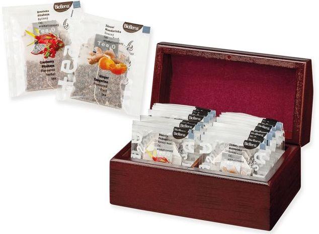 KENDRA sada čajů BIOGENA 2x 10 ks v dřevěné krabici s potiskem