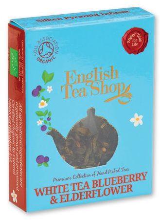 MINI TEA BIO pyramidový čaj v krabičce, 1ks - bílý čaj borůvka, bez, světle modrá s potiskem
