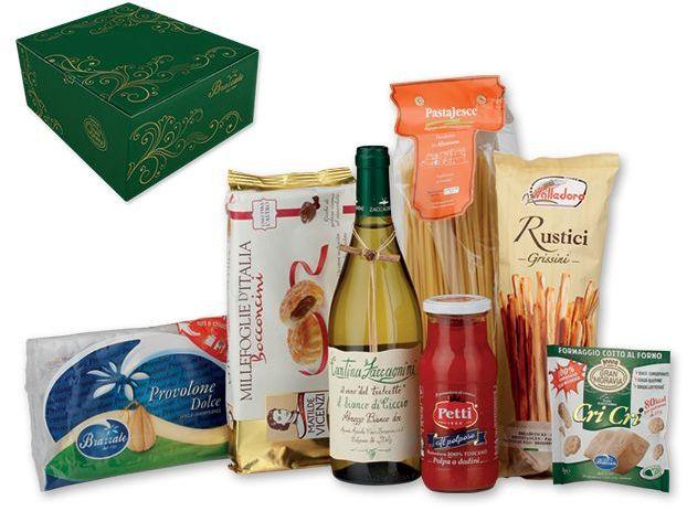 SICILIANO III dárková sada italských potravin s bílým vínem s potiskem