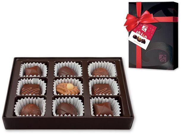 DARK PALETTE výběr belgických pralinek z hořké čokolády v dárkovém balení, 110g, černá s potiskem