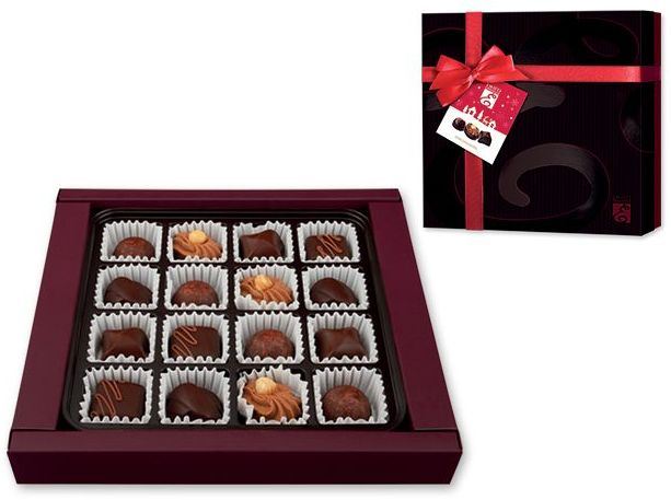 CHOCODARK výběr belgických pralinek z hořké čokolády v dárkovém balení, 199g, černá s potiskem