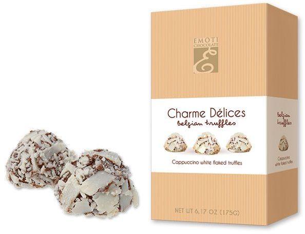 FLAKED WHITE lanýže z mléčné čokolády s příchutí capuccino, 175 g, béžová s potiskem