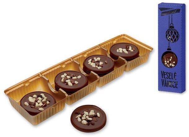 MEDALLION MILK mléčné čokoládové medailonky s posypem cappuccino, 60g, tmavě modrá s potiskem