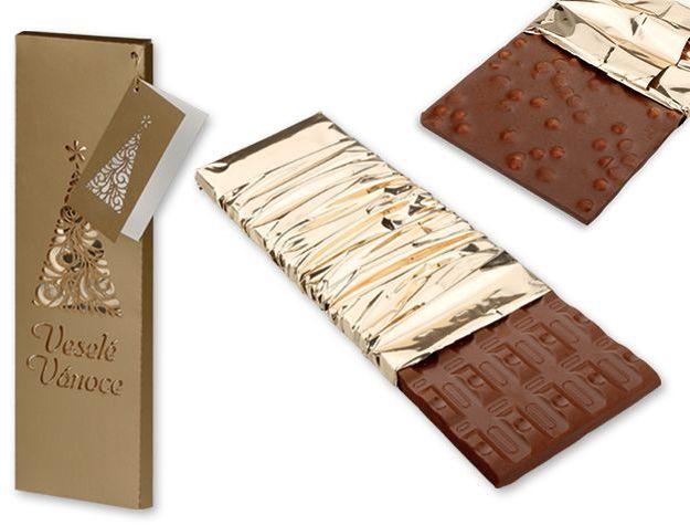 GOLD TREE mléčná čokoláda s příchutí kávy, 225 g, zlatá s potiskem