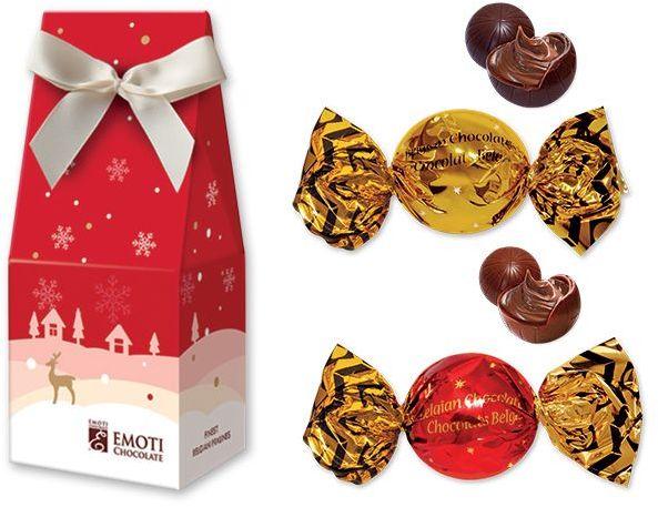 CHRISTMAS CANDY pralinky z mléčné a hořké čokolády, 54 g s potiskem