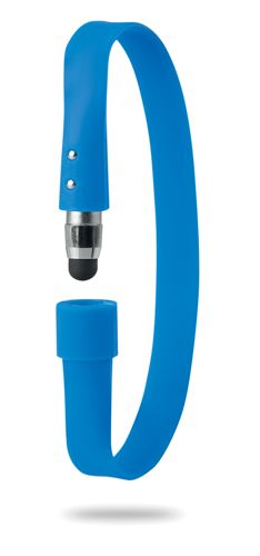 Modrý náramek s dotykovým perem s potiskem