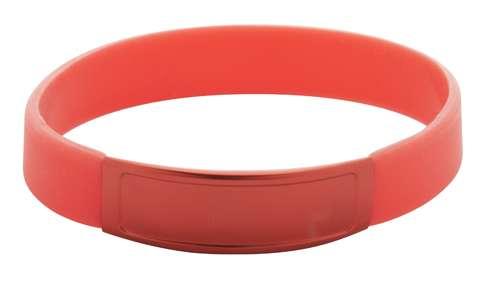 Truddy červený pásek na ruku s potiskem