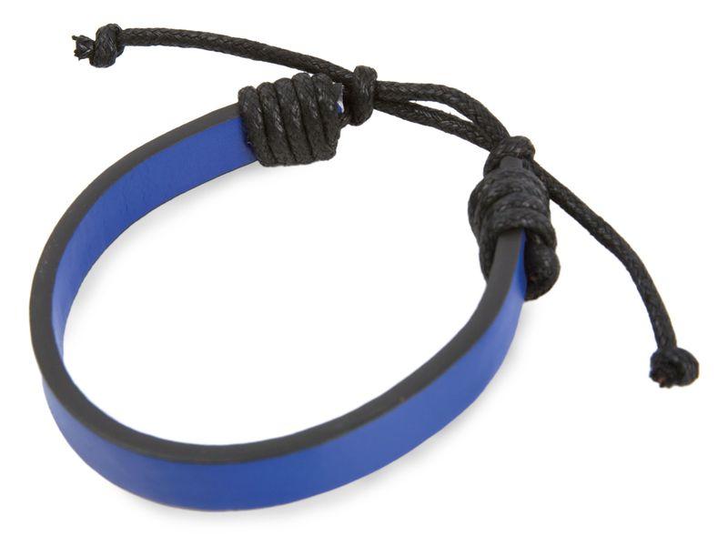 Nastavitelný náramek černo-modrý s potiskem