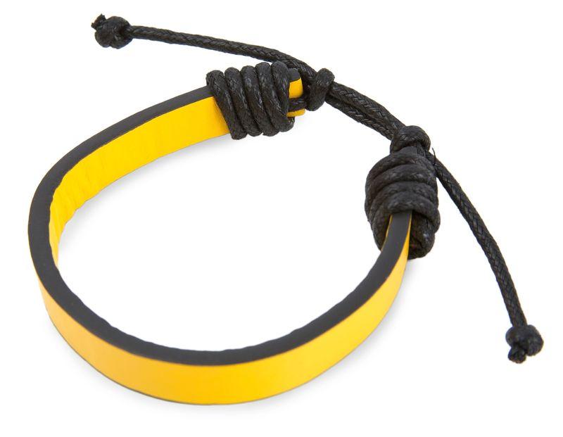 Nastavitelný náramek černo-žlutý s potiskem