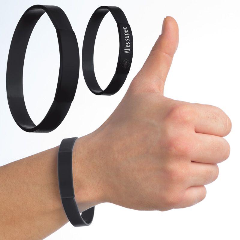 Silikonový náramek černý s potiskem