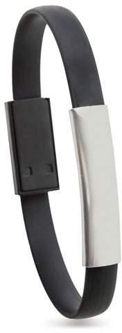Náramek s Micro USB kabelem, černá s potiskem