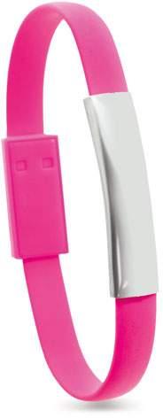 Náramek s Micro USB kabelem, růžová