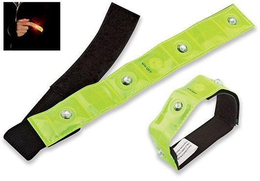 VISIBLE textilní reflexní pásek se 4 červenými LED, žlutá
