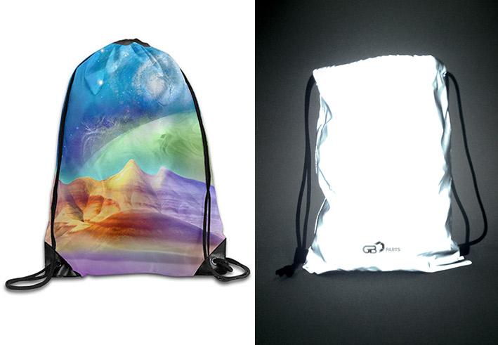 Reflexní sportovní batůžek s plnobarevným celoplošným tiskem